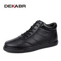 DEKABR Genuine Leather Men Winter Shoes Plus Size 36 48 Brand Handmade Black Super Warm Men