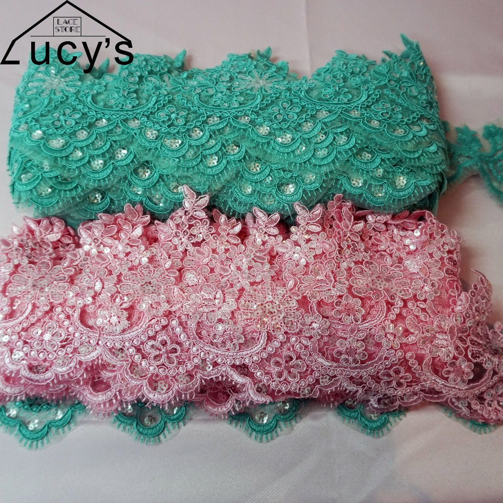 5 yards lot free shipping 4 Colors available apricot pink green blue sequin  lace trim wedding embroidered lace colorful-in Lace from Home   Garden on  ... 7cc16326eb