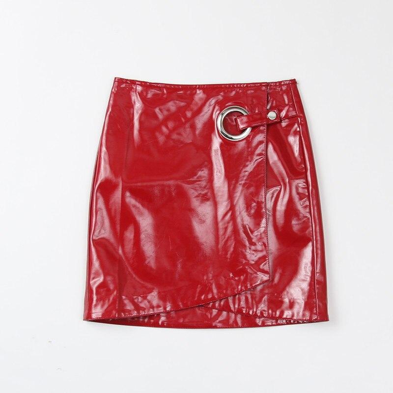 90a36c0be € 20.34 24% de DESCUENTO|2017 moda mujer rojo brillante imitación charol  asimétrica falda señoras Sexy Empire Style Mini falda para Club en ...