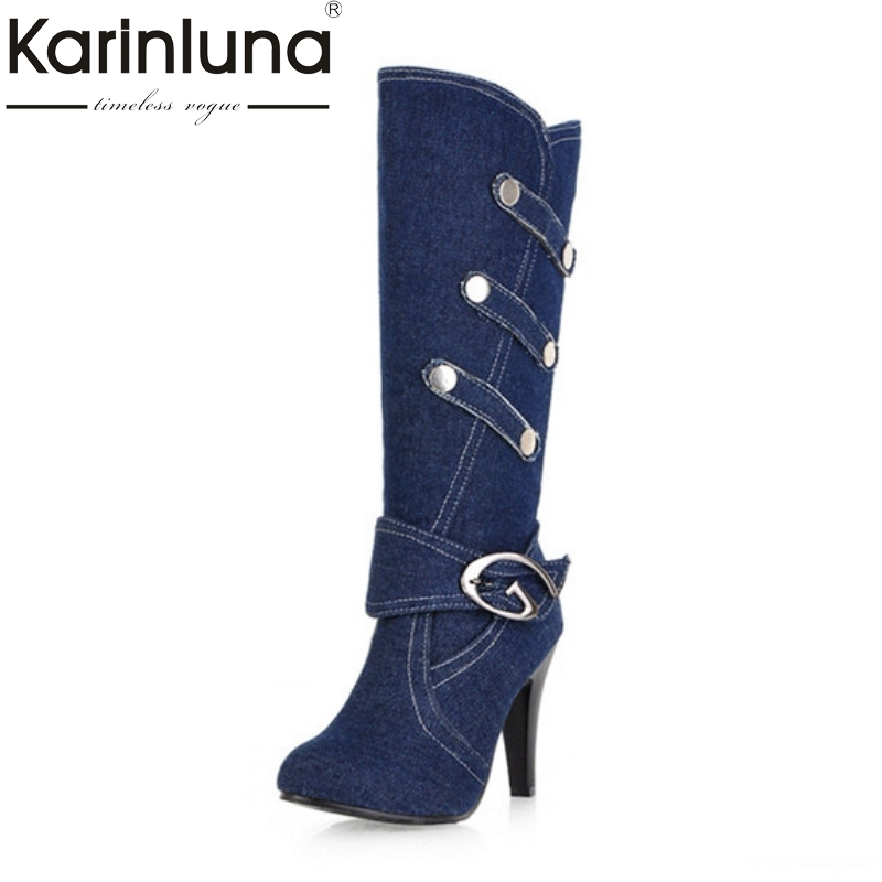 Plus Size 32-43 Women Knee High Long Boots Sexy Spiked High Heel Shoes Woman Denim Upper Buckle Strap Less Platform Autumn Boots large size women spring autumn denim knee high boots high heels buckle strap metal decoration pointed toe platform boots
