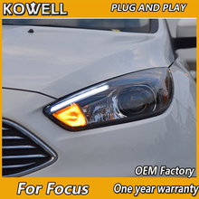 KOWELLรถยนต์สำหรับFord Focus 3 LEDไฟหน้า 2015 2016 โฟกัสSTสไตล์LED DRL H7 Hidตัวเลือกangel Eye Bi Xenon Beam