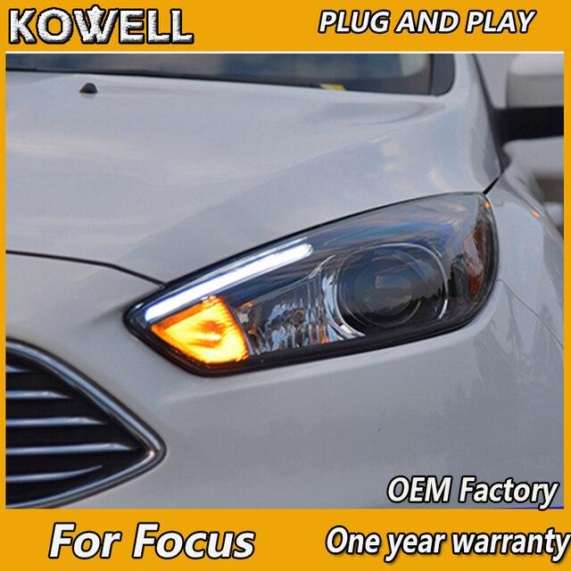 KOWELL faro LED para coche Ford Focus 3, iluminación de estilo ST, opción Hid DRL H7, haz de Bi Xenon, Ojo de Ángel, 2015, 2016