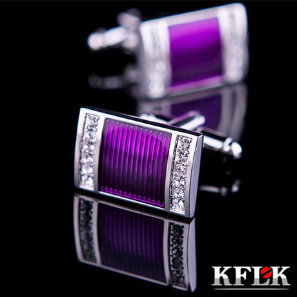 KFLK Jewelry Shirt Wedding Cufflinks For Mens Brand Cuff Buttons Crystal Cuff Link High Quality Purple Abotoaduras Jewelry