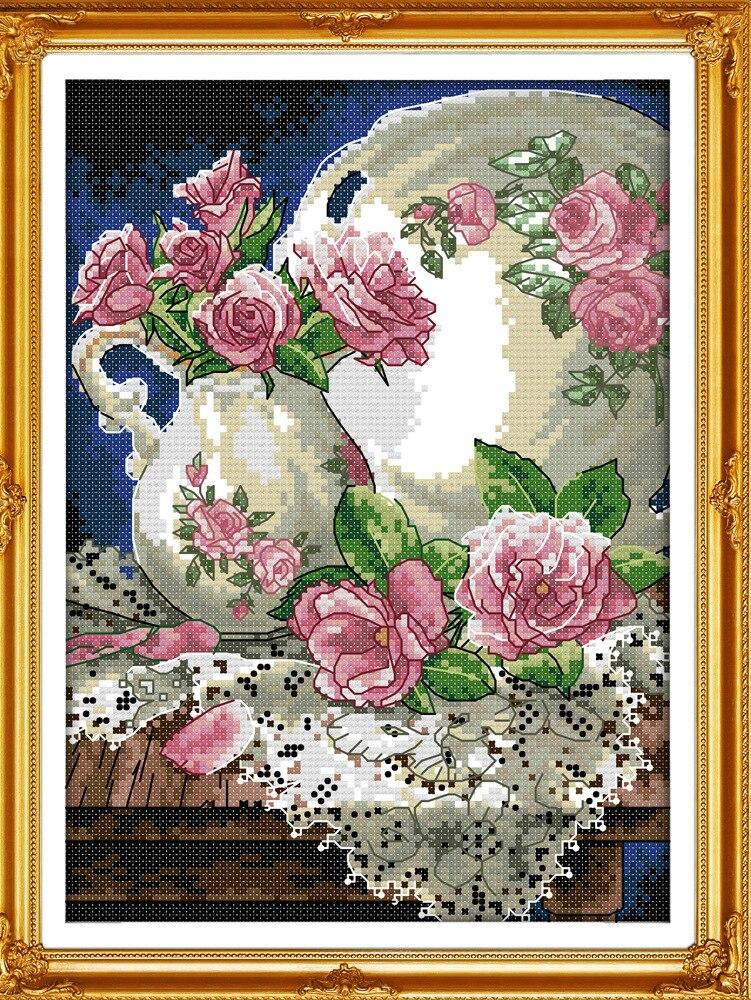 Vaza frumoasă și trandafir imprimat de pânză DMC numărate DIY - Arte, meșteșuguri și cusut