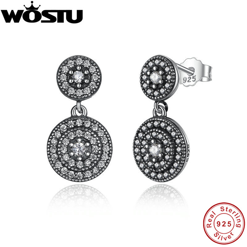 New Arrival 100% 925 Sterling Silver Vintage Radiant Elegance Drop Earrings Clear CZ For Women Luxury Authentic Original Jewelry