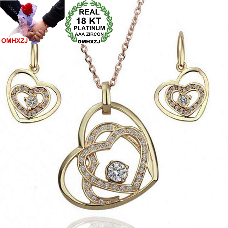 OMHXZJ Wholesale AAA Zircon Crystal Silver Gold 18KT Platinum Woman Bride You In My Heart Necklace Earrings Jewelry Sets ST128OMHXZJ Wholesale AAA Zircon Crystal Silver Gold 18KT Platinum Woman Bride You In My Heart Necklace Earrings Jewelry Sets ST128