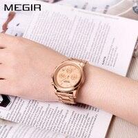 MEGIR Women Quartz Chronograph Watch Rose Gold Steel Band Bracelet Watch Waterproof Fashion Women Dress Watch