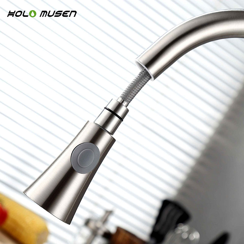 Купить с кэшбэком Lead-Free Hot Cold Kitchen Mixer Tap Brushed Nickel Kitchen Tap Pull Out SUS304 Stainless Steel Faucet Kitchen Mixer