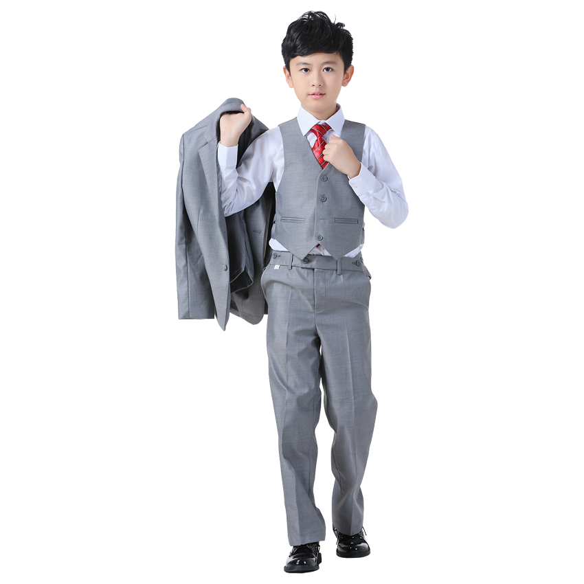 ActhInK New Boys Formal Blazer Wedding Suit 4PCS Kids Vest+Shirt+Pant+Blazer Suit With Tie For ...
