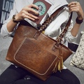 2016 New PU Leather Women Handbags Tassel Designer Retro Bolsas Mujer Shopping Tote Lady Bags sac a main Shoulder Bags Fashion