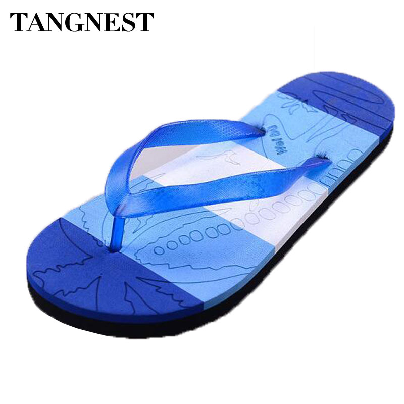 Tangnest 2017 Summer New Men Flip Flops Men Comfortable Flat Slippers Male PVC Sandals Man Casual Beach Shoes Size 40~44 XMT206 summer leisure slippers slip on round toe comfortable sandals women flat sandals casual flip flops female shoes