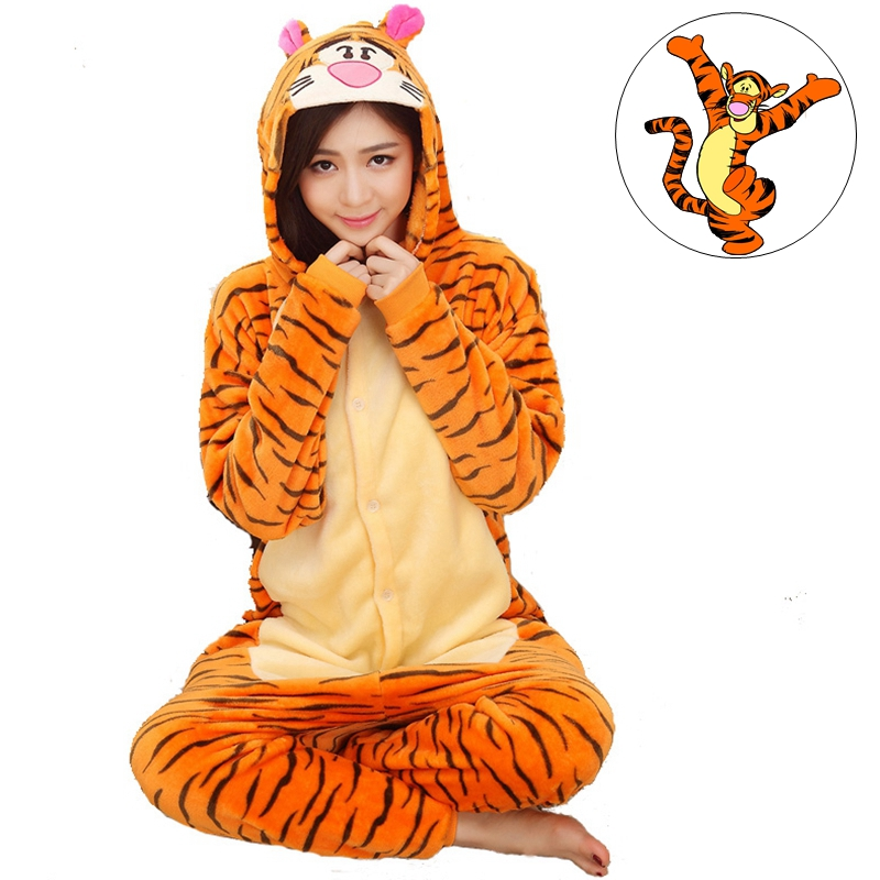 Tigger Tiger Adult Unisex Autumn Winter Animal Cosplay Pajamas Sets Sleepwear Onesies Pajama For Women Girls