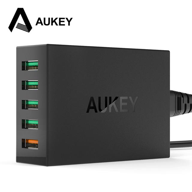 Aukey carga rápida 2.0 54 w 5 puerto usb cargador rápido qc2.0 pared de carga de la ue ee.uu. plug para ipad iphone 4/5/6 s y android teléfono móvil