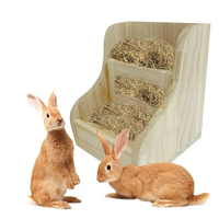 Rabbit Feeder Hay Feeder Rabbit 2 In 1 Wooden Straw Frame Food Bowl Guinea Pig Totoro Grass Frames Small Pet Food Bowl New HFing