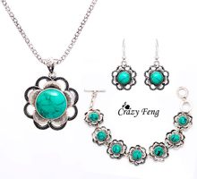 Crazy Feng Vintage Tibetan Silver Jewelry Stone Crystal Flower Pendant Necklace Bracelet Earrings Jewelry Sets For Women(China)