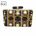 Women Famous Brand Black Beading Sequined Diamond Applique Handbag Wedding Party Chains Clutches Purse Satin Evening Clutch Bag