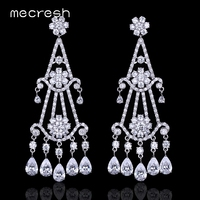 Top Quality Cubic Zirconia Double Dangle Long Earrings For Women Boucle D Oreille Brincos EH673