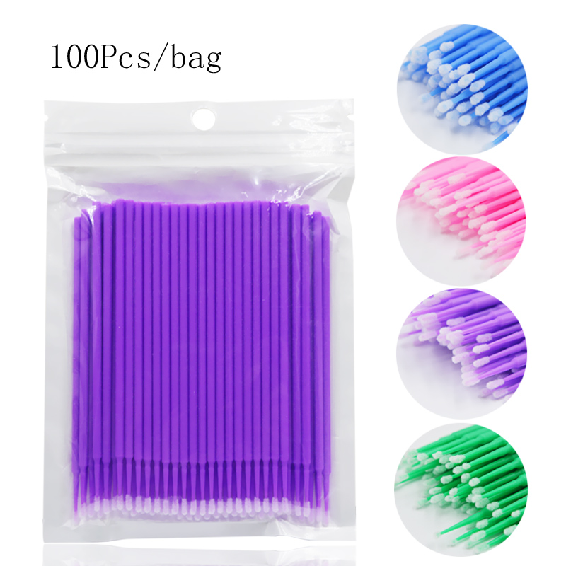 100pcs Micro Brushes Disposable Applicator Swab For Eyelash Extension Mascara Brush Eye Makeup Glue Remove Tool Cotton Soft Swab