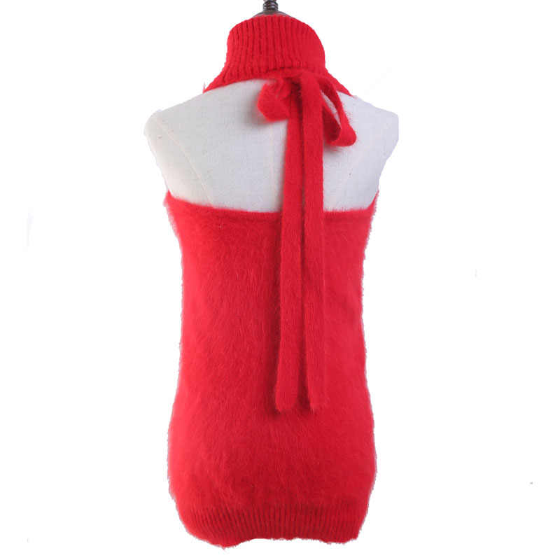 LOVELYDONKEY 정품 밍크 캐시미어 스웨터 여성 Backless 조끼 순수 밍크 조끼 스웨터 무료 shippingM1046