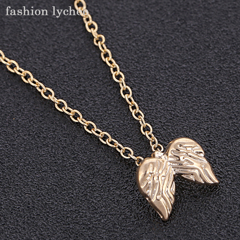 fashion lychee Guardian Angel Two Wings Pendant Necklace Gold Silver Color Chic Necklace For Women Fashion Jewelry