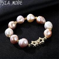 Fyla Mode 2017 Charms Bracelet AAA Grade 100 Real Natural Freshwater Pearls Baroque Bracelet 925 Sterling