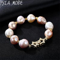 Fyla Mode 2017 Charms Bracelet AAA Grade 100 Real Natural Freshwater Pearls Baroque Bracelet 925 Sterling