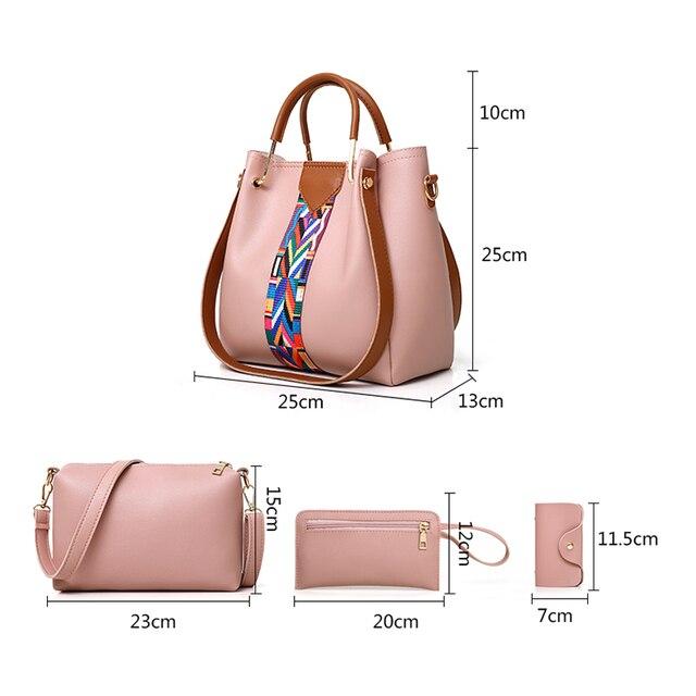 Women Messenger Bags Ladies Handbag New Brand 4 set Shoulder Bag Soft High Quality PU Casual Bag Female Fashion Wristlets Bag 5