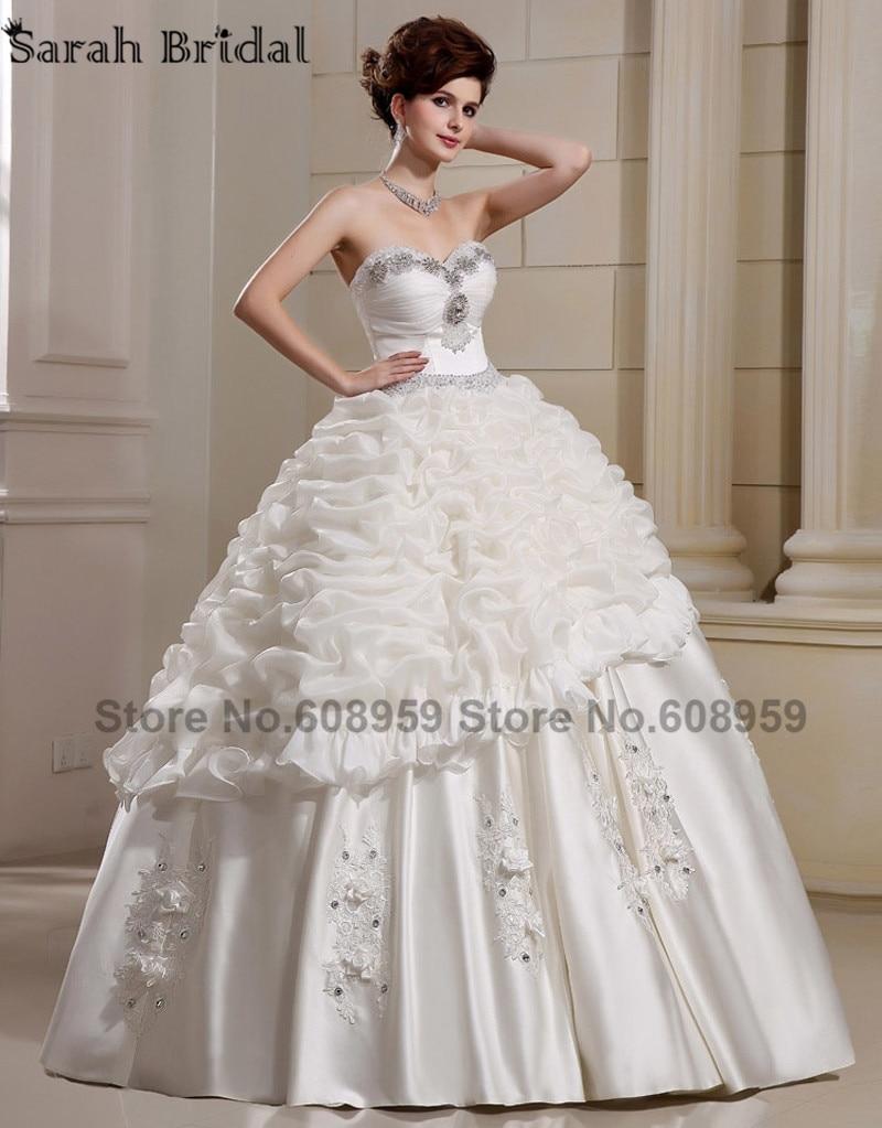 Luxury crystal pearls beading pleat long wedding dresses Wedding dresses with crystal beading