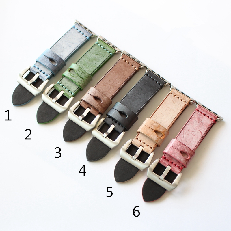TJP Genuine Horse leather 38mm 42mm Apple Watch Bands Series 1 2 Watchband iwatch Strap Bracelet With Adapter 6 Colors available kakapi crocodile skin genuine leather watchband with connector for apple watch 38mm series 2 series 1 pink