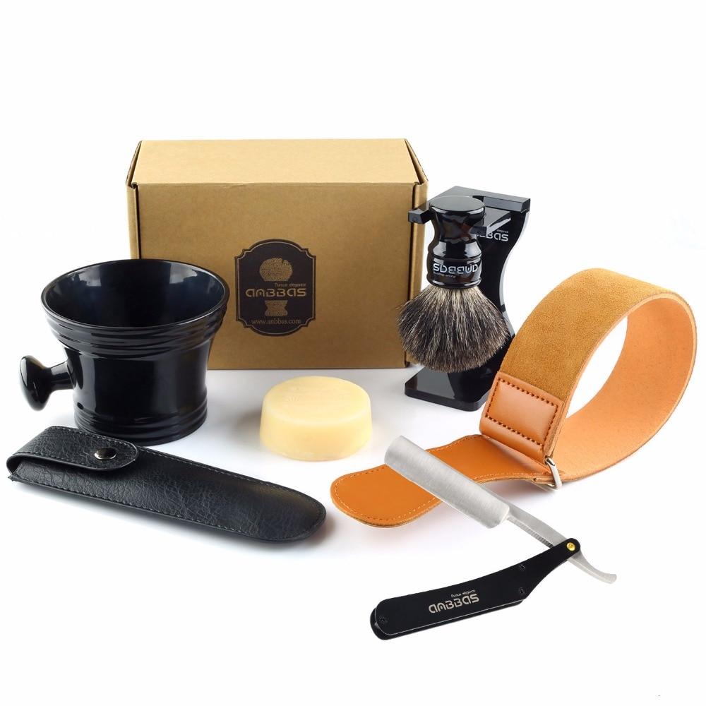 Anbbas 7Pcs Shaving Set Stainless Steel Straight Razor Folding Shaving Knife,Silvertip Badger Hair Brush, Stand, Bowl,Soap,Strop