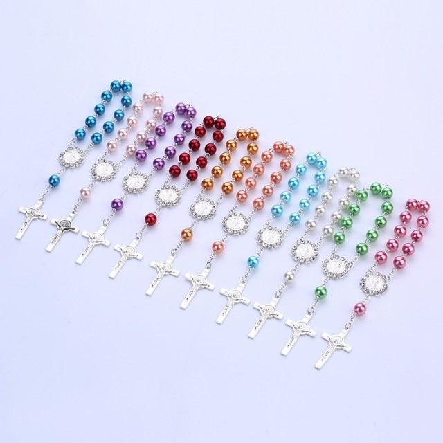 f8b1942b485 Cruz bautismo favores Rosa cristal perlas comunión Recuerdos Para Bautizo  dedo Rosario Bautizo favores