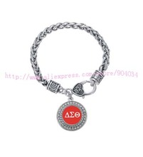 Customized ornament  Delta Sigma Theta Sorority  Crystal Circle   Bracelet Jewelry Rush sister Gift  1pc free shipping