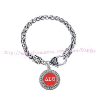 Personalizado ornamento Delta Sigma Theta Sorority cristal pulsera círculo joyería Rush hermana Regalo 1 unid envío libre