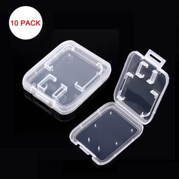 10 pièces étuis de carte mémoire Standard Transparent SD SDHC microsd Cas TF Protecteur Blanche De Support de Transport de Boîte De Rangement En Gros SD Cas