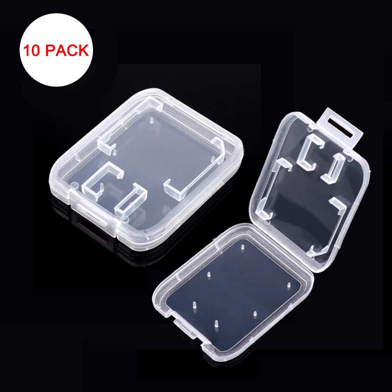 10pcs Memory Card Case Transparent Standard SD SDHC Microsd Case TF Protector Holder White Box Carry Storage Wholesale SD Case