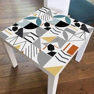 Image 2 - ホットブルー防水幾何タイル不足テーブルトップス壁アート家具自己粘着pvc壁紙ウォールステッカー