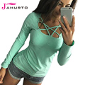 Jahurto Lace Up Cute Tee Shirts V Neck Long Sleeve Ladies Sexy Low Cut Tops Womens Fall 2016 Fashion Woman Clothes