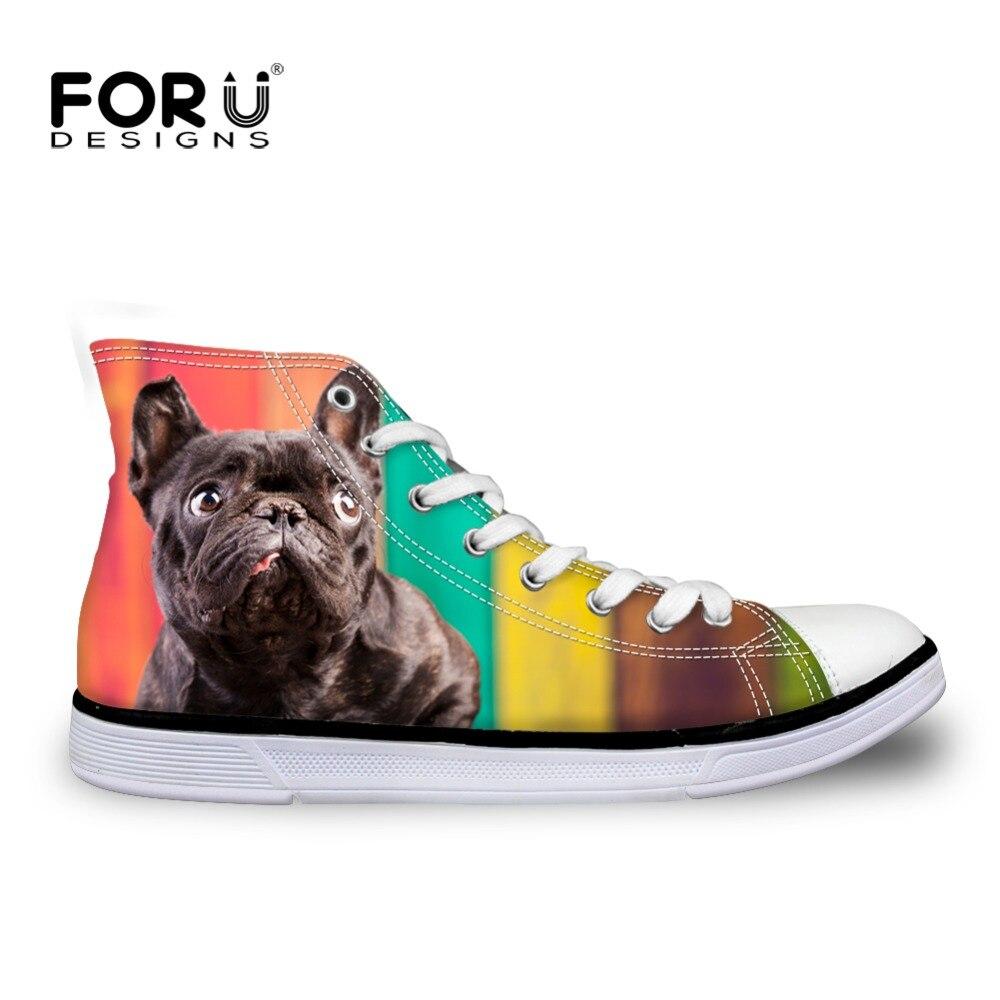 FORUDESIGNS Casual Zapatos para Mujeres Bulldog Francés Zapatos de Lona Estudian