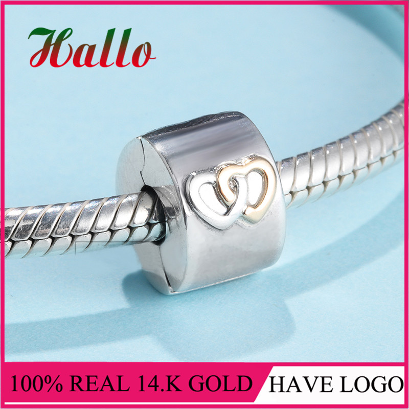 LS nouveauté 14. K G. vieux & 925 argent cœurs Aglow Clip charmes Fit Original Bracelets Pulseira Pingentes.100 % bijoux fins N - 2