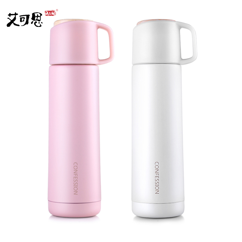 X&W 480ml Lady Thermo Cup Stainless Steel Vacuum Flasks Thermos Bottle Tumbler Mug Women Gift Portable With lid Drinkware