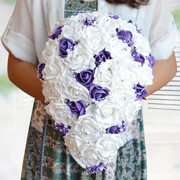 2016 vraie touche mariées Rose mariage fleurs larme Cascade nuptiale bouquet avec diamants et perles magnifique Bouquet de mariage