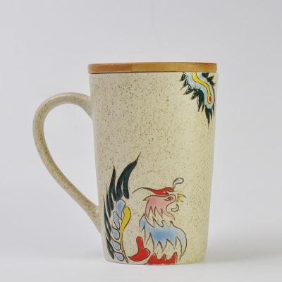 450ml Creative mug with a lid nice gift Jingdezhen high-end hand-painted Phoenix ceramic mug office drink water mug