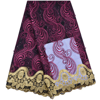 Best Selling African Lace Fabric 2019 Embroidery Nigerian Beads French Tulle For Women Dress