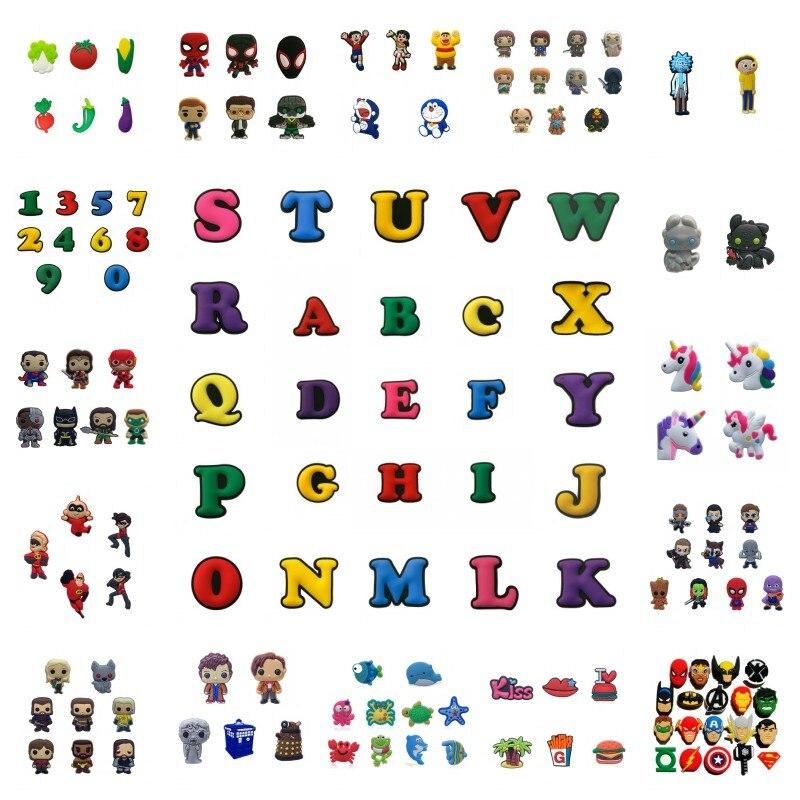 1000pcs PVC Shoe Charms Avengers Unicorns Justice League Game of Thrones Numbers Alphabet Decor Buckles Fit