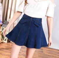 Women denim skirt female summer new large size skirt high waist skirt