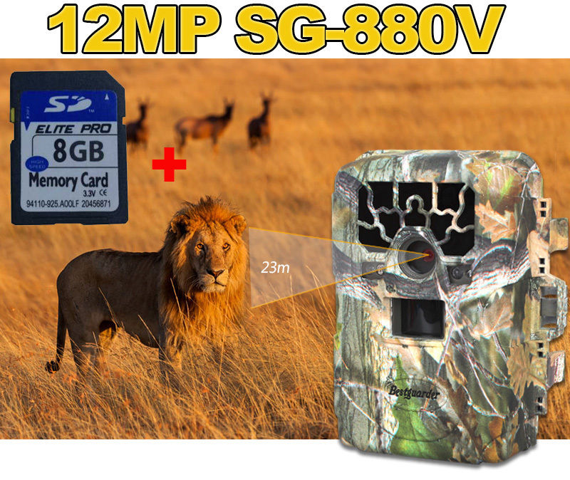 Bestguarder SG-880V Full HD 1080P 940NM Trail Camera 12MP Scouting Hunting Camera with 36PCS Infrared IR LED 8GB SD Card Freely bestguarder sy 007 360 degree wireless hunting trail