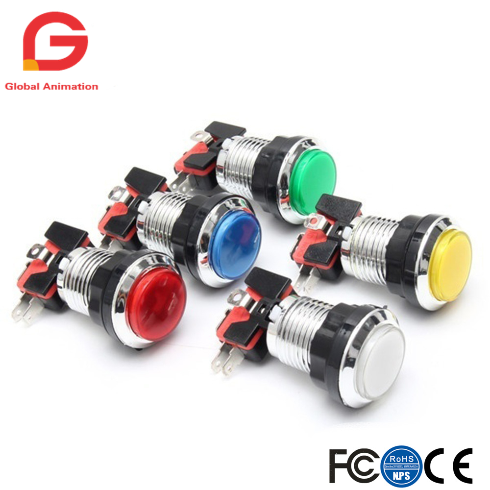 50 Pcs/lots Chrome Plating 5V/12V 30mm LED Illuminated Push Buttons With Micro Switch For Arcade Machine Games Mame Jamma Parts