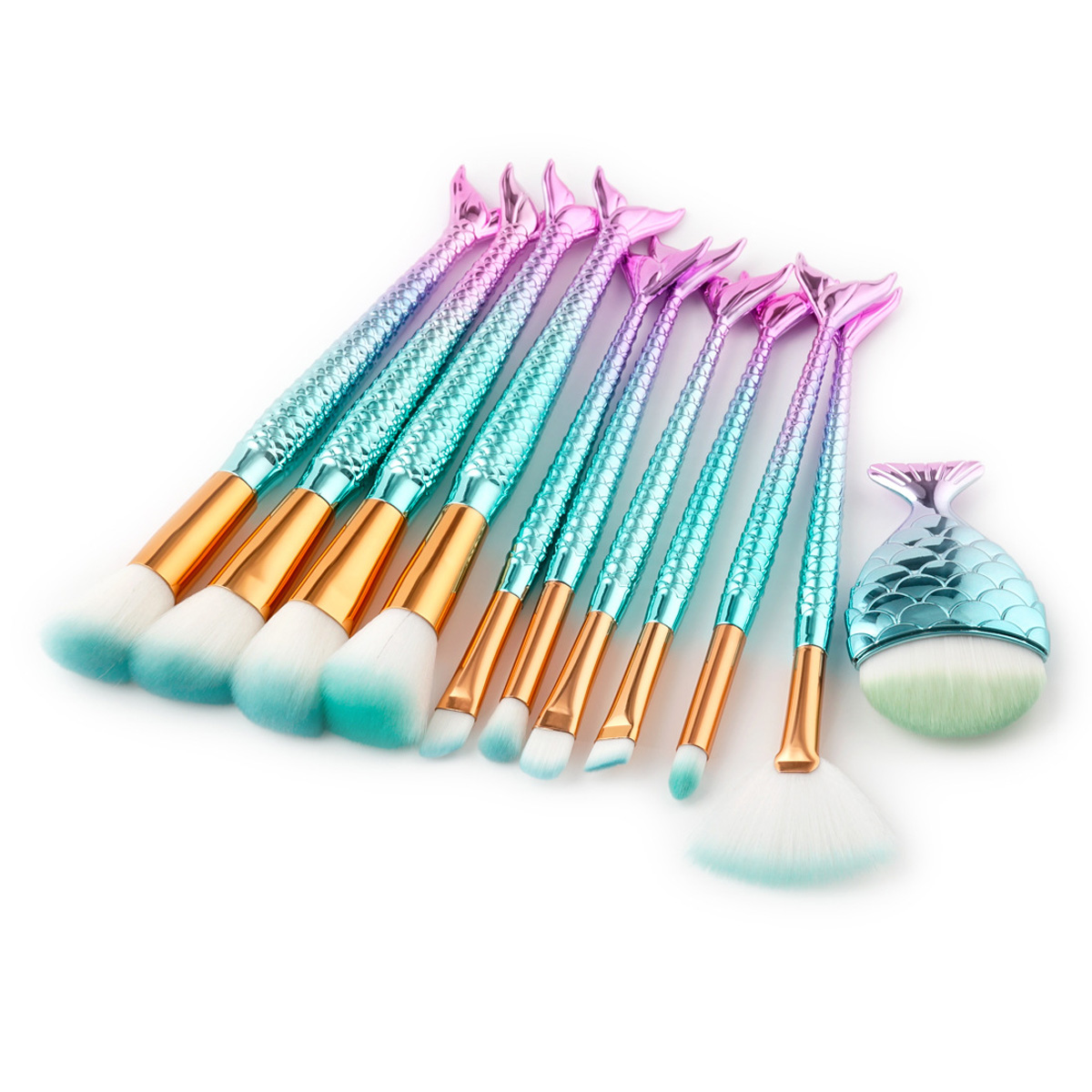 11Pc Mermaid Makeup Brush Set Eyebrow Eyeliner Blush Blending Contour Foundation Cosmetic Beauty Gradient Color Make Up Brushes купить