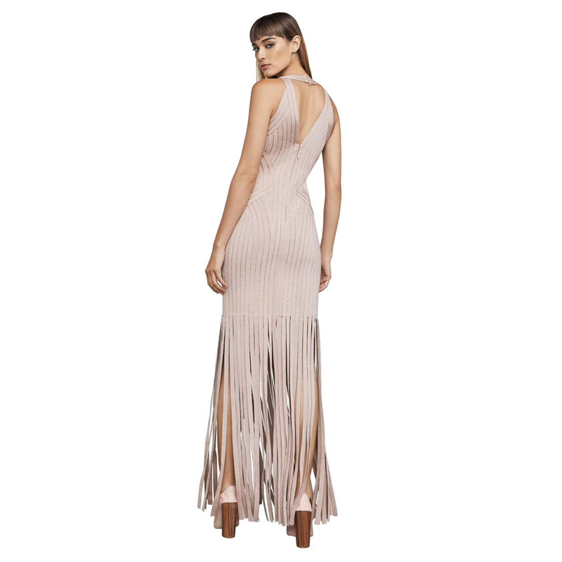Dos Nouvelle Bandage Soirée Gland Femmes Arrivée Nu De V 2018 Robes Moulante Sexy D'été Mode Robe Cou Manches Sans IndqSn6TW