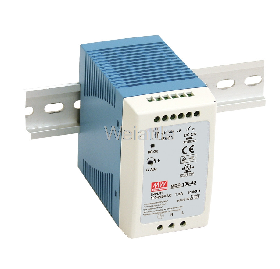 MEAN WELL original MDR-100-48 48V 2A meanwell MDR-100 48V 90W Single Output Industrial DIN Rail Power Supply mean well original mdr 100 12 12v 7 5a meanwell mdr 100 12v 90w single output industrial din rail power supply